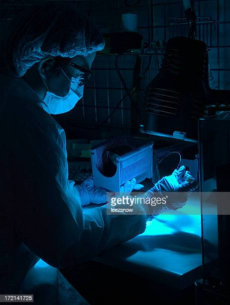 Silicon Wafer Inspection Under Blue Light