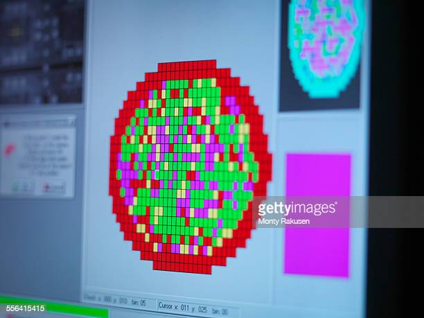 Silicon wafer map on screen in clean room laboratory, close up
