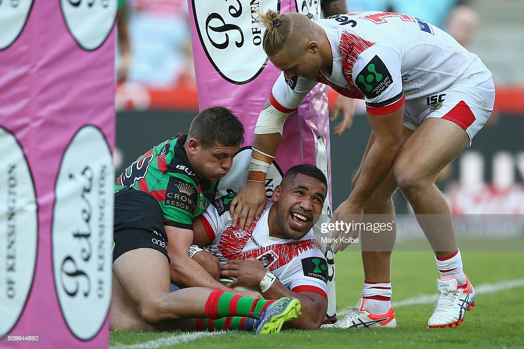 Siliva Havili of the Dragons celebrates scoring a try during the NRL Charity Shield match between the St George Illawarra Dragons and the South Sydney Rabbitohs at ANZ Stadium on February 13, 2016 in Sydney, Australia.