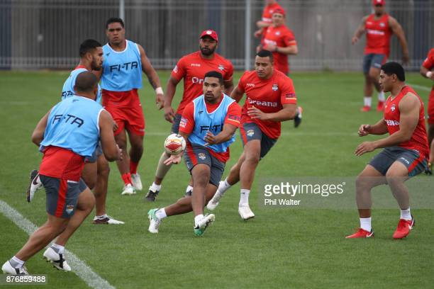 Siliva Havilli of Tonga passes during a Tonga Rugby League World Cup training session at Mt Smart Training Field on November 21 2017 in Auckland New...