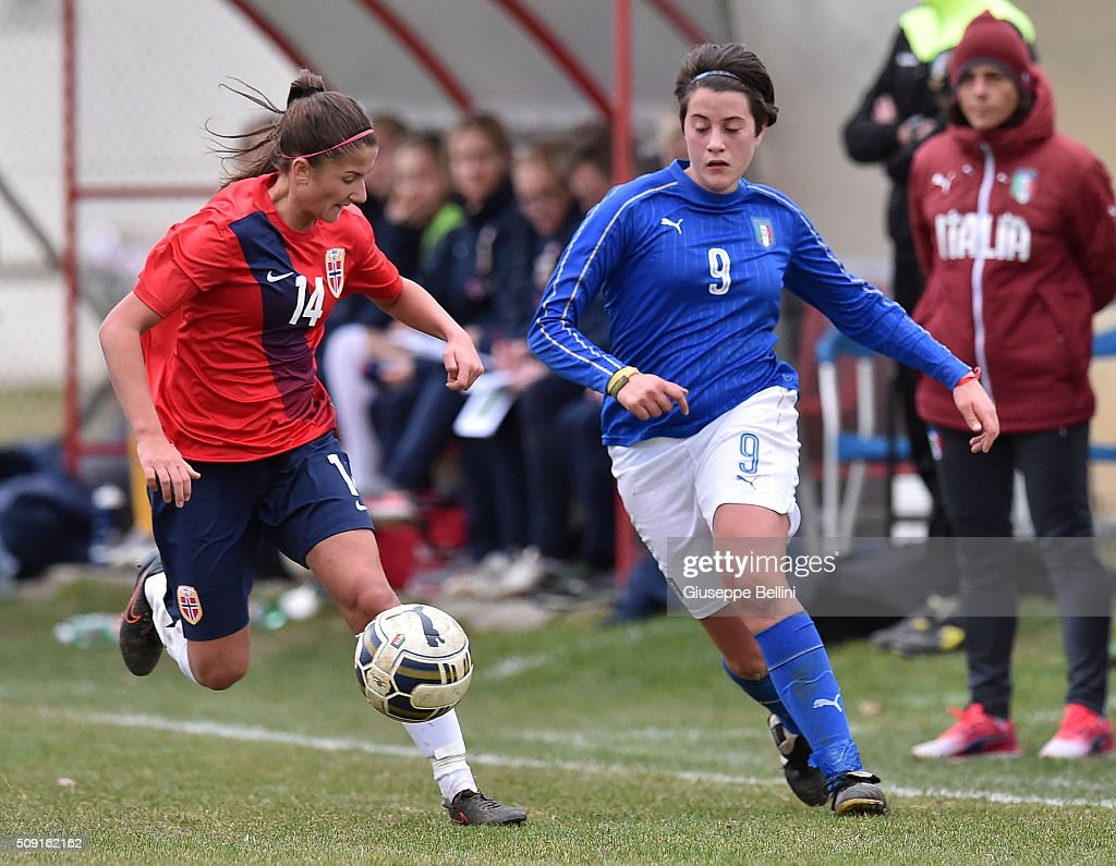 Silje Bjornebo of Norway and Elisa Polli of Italy in action during the Women's U17 international friendly match between Italy and Norway on February 9, 2016 in Cervia, Italy.