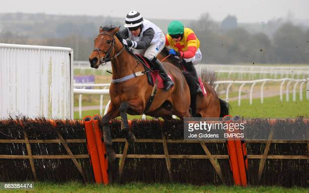 Silk Affair ridden by TJ O'Brien jumps the last fence behind Lindy Lu ridden by Timmy Murphy but goes on to win Denise Matthews Memorial Mares'...