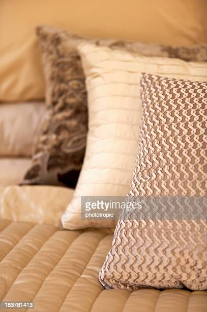 silk cushions in soft focus