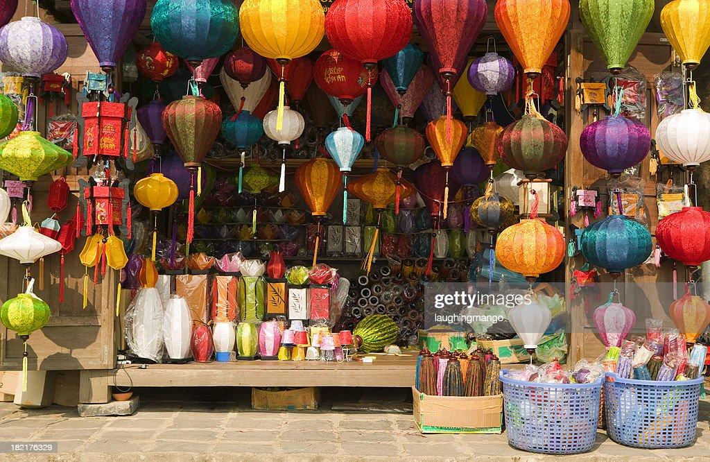 silk lantern bazaar display hoi an vietnam