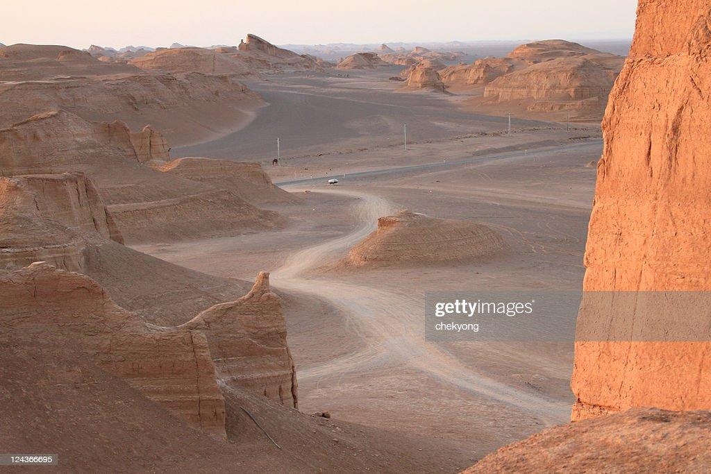 Silk road route in Kaluts desert, Iran