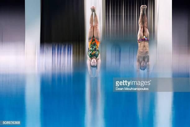 Silke Kerkhofs and Bjorn Claes of Belgium compete in the Synchro Mixed Platform Final during the Senet Diving Cup held at Pieter van den Hoogenband...