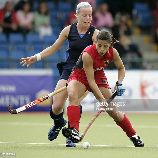 Silke Muller of Germany competes with Catriona Forrest of Scotland during the 7th Women's European Nations Championship match between Germany and...