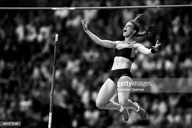 Silke Spiegelburg of Germany celebrates a jump in the Women's pole vault final during Day Four of the 14th IAAF World Athletics Championships Moscow...