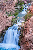 A unnamed waterfall cuts through Havasu Canyon on the Havasupai Indian Reservation in the Grand Canyon.