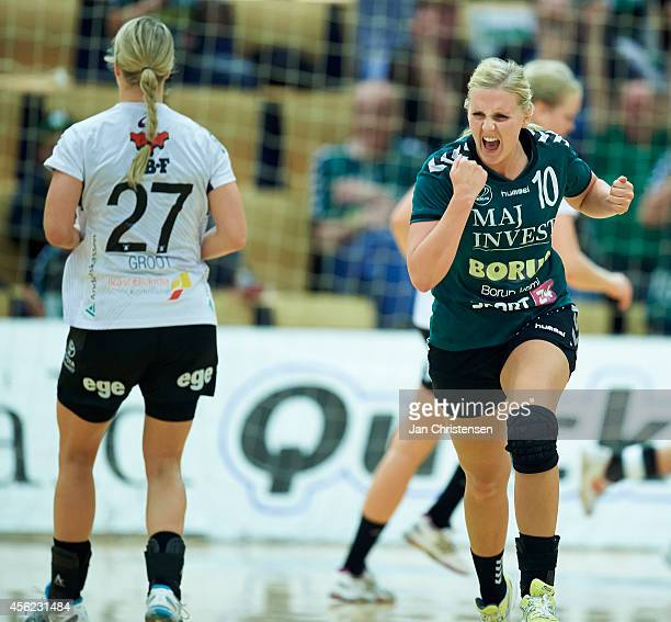 Sille Thomsen of Viborg HK celebrate after goal during the Danish Handball Liga match between Viborg HK and FC Midtjylland in Viborg Stadionhal on...
