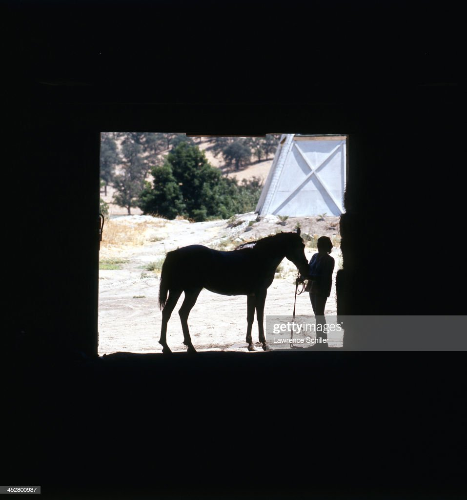 Sillhouette of a woman and a horse at La Costa Country Club San Diego California 1967