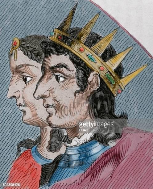 Silo of Asturias King of Asturias from 774 to 783 Portrait Engraving Colored