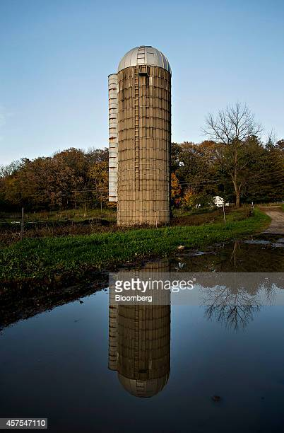 A silo stands as its reflection is seen in a pond on a farm in Tiskilwa Illinois US on Thursday Oct 16 2014 As the pace of global urbanization...