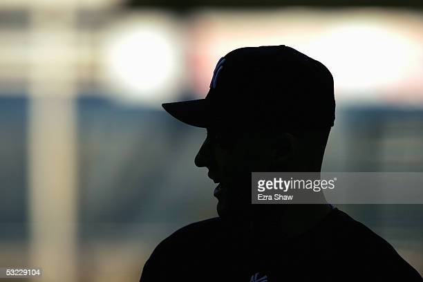 A silohuette of innfielder Derek Jeter of the New York Yankees is seen prior to the start of Game 1 of the American League Division Series against...