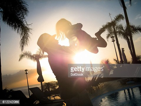 Silouette of Father and Child on Holiday