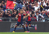 Silva Lago Falque of Genoa CFC celebrates with his teammate Diego Perotti after scoring the opening goal during the Serie A match between Genoa CFC...