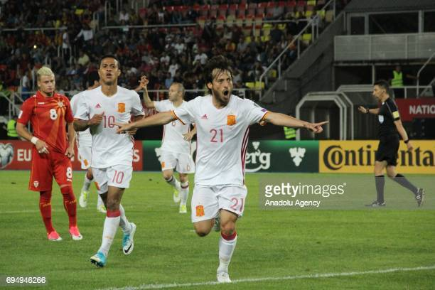 Silva of Spanish National Football Team celebrates after scoring during the FIFA 2018 World Cup Qualifiers Group G match between Macedonia and Spain...