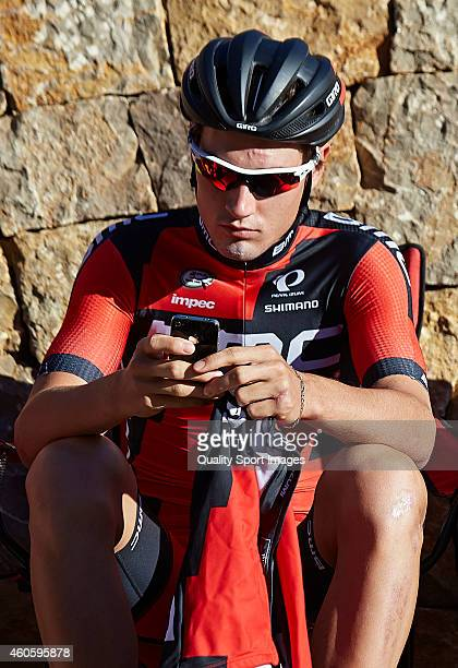 Silvan Dillier of BMC Racing team waits prior to the training session of the BMC Racing team at the Hotel La Sella on December 17 2014 in Alicante...