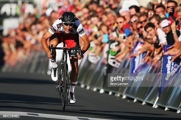 Silvan Dillier of Switzerland and the BMC Racing Team sprints to victory on stage four of the 2015 Arctic Race of Norway a 165km stage from Narvik to...