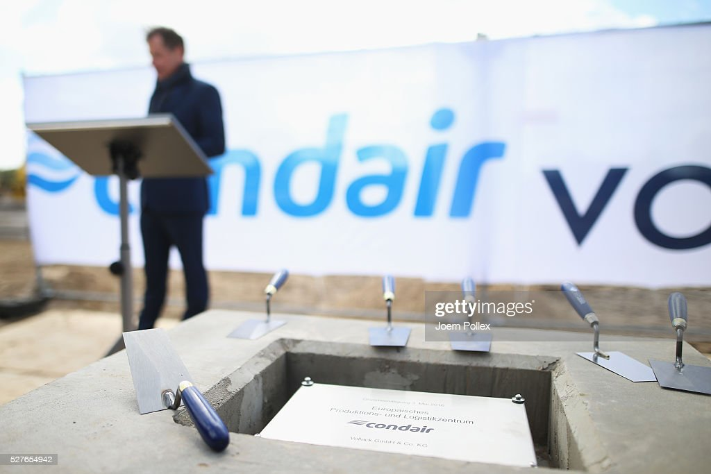 Silvan G.-R. Meier, Owner of Condair, speaks to the attendant crowd during the foundation stone laying ceremony for the new Condair EMEA Logistic and Production Plant on May 3, 2016 in Norderstedt, Germany.