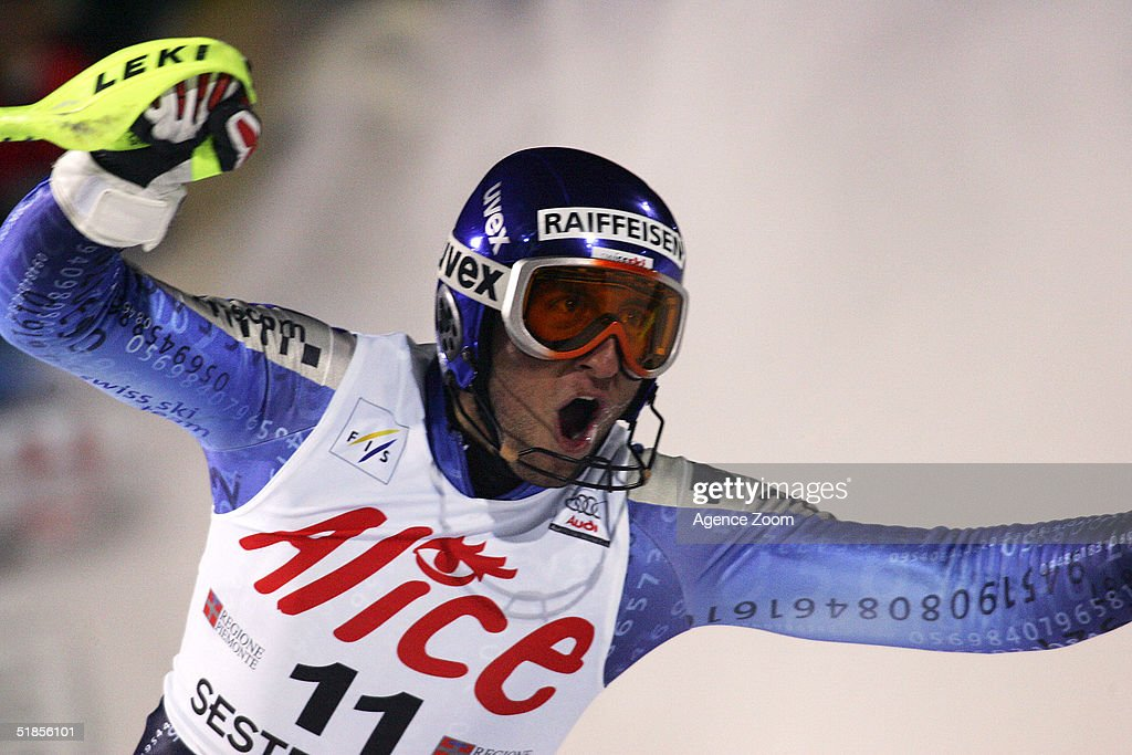 Silvan Zurbriggen of Switzerland celebrates his second place during the FIS Alpine Ski World Cup Men's Slalom Event at Sestriere Sporting Club on December 13, 2004 in Sestriere, Italy.