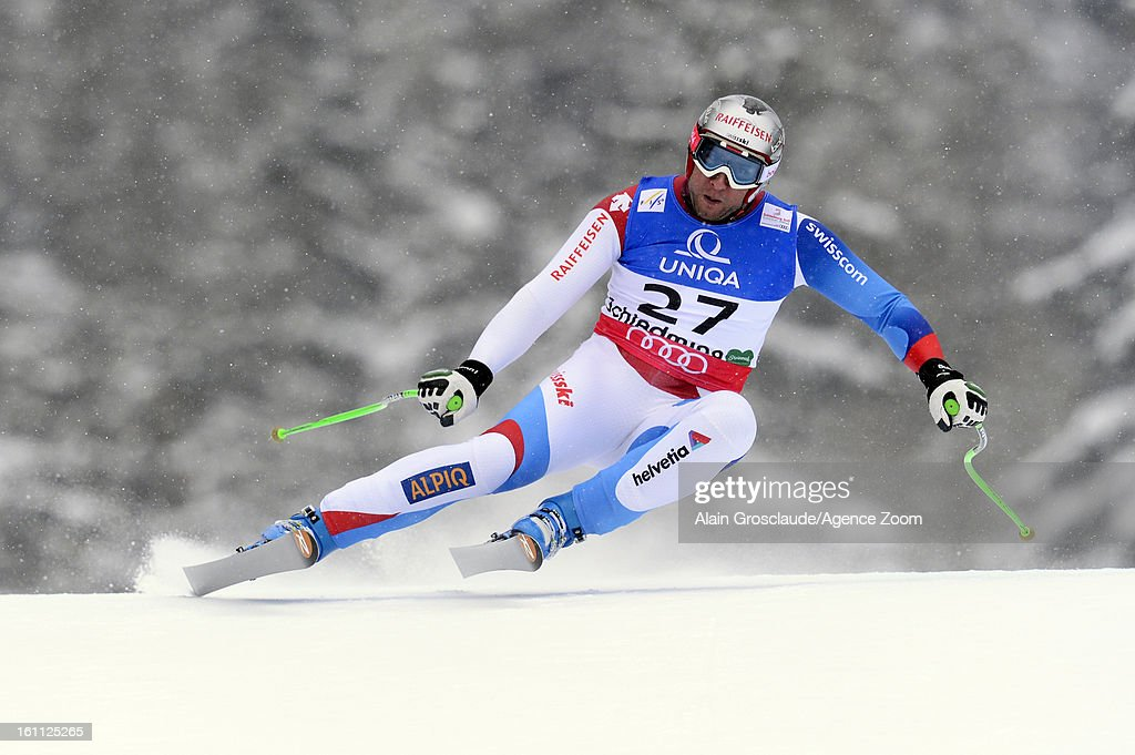 Silvan Zurbriggen of Switzerland competes during the Audi FIS Alpine Ski World Championships Men's Downhill on February 09, 2013 in Schladming, Austria.