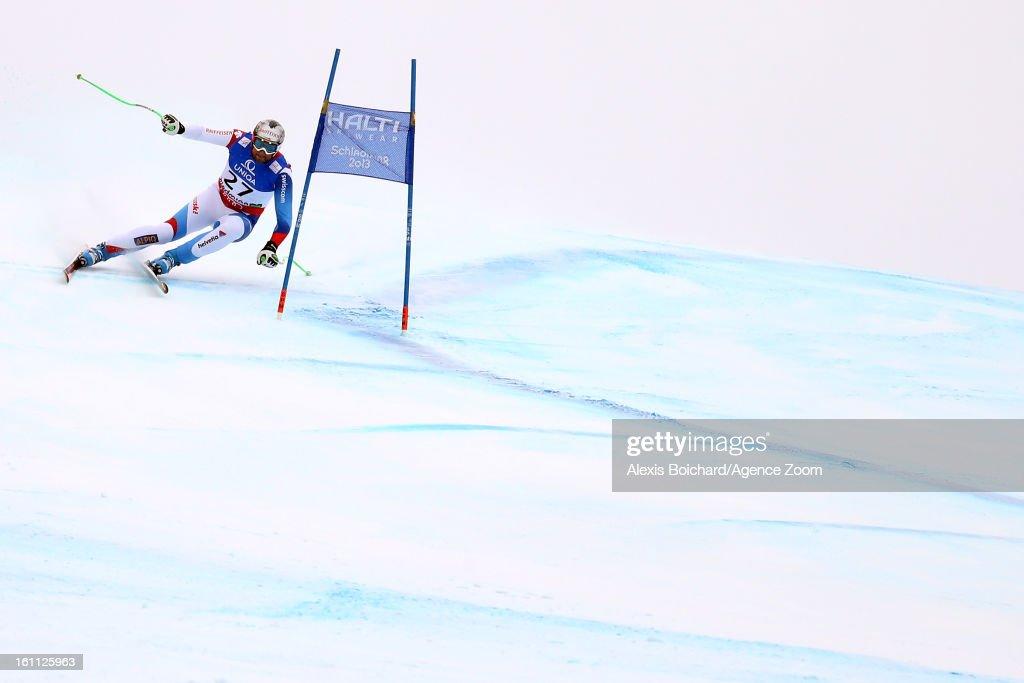 Silvan Zurbriggen of Switzerland competes during the Audi FIS Alpine Ski World Championships Men's Downhill on February 09, 2013 in Schladming, Austria.