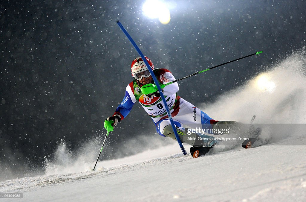 <a gi-track='captionPersonalityLinkClicked' href=/galleries/search?phrase=Silvan+Zurbriggen&family=editorial&specificpeople=817527 ng-click='$event.stopPropagation()'>Silvan Zurbriggen</a> of Switzerland competes during the Audi FIS Alpine Ski World Cup Men's Slalom on January 26, 2010 in Schladming, Austria.