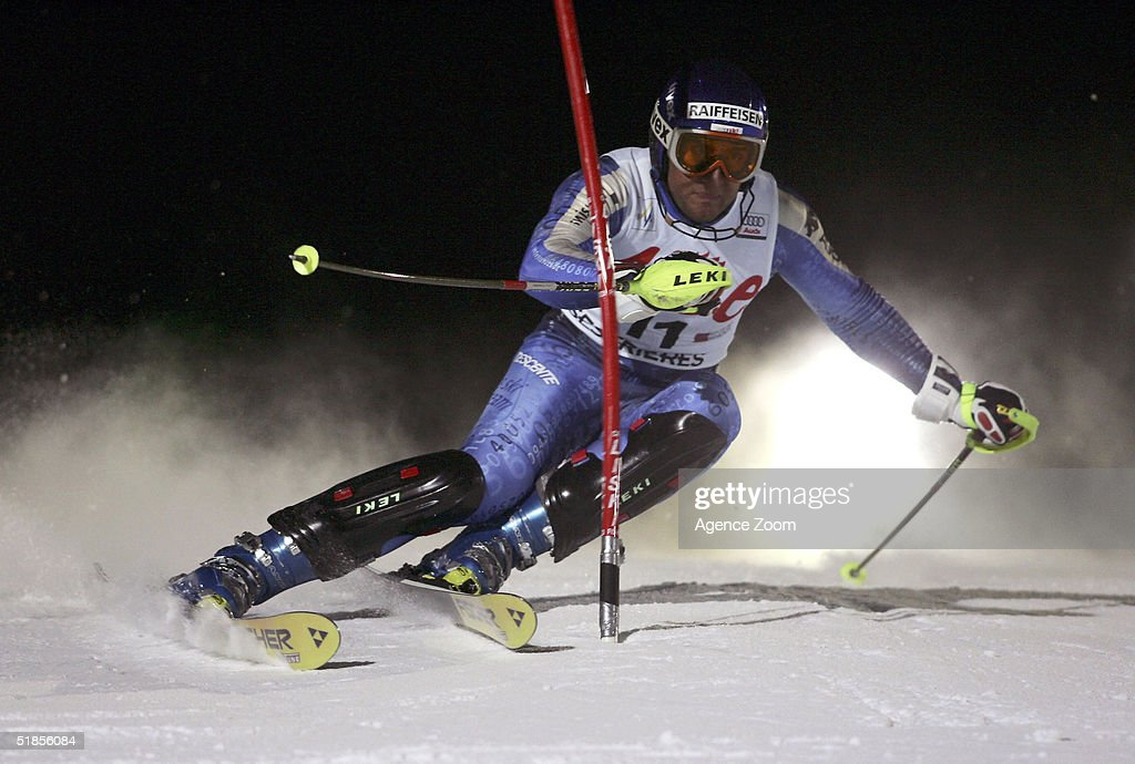 Silvan Zurbriggen of Switzerland competes during the FIS Alpine Ski World Cup Men's Slalom Event at Sestriere Sporting Club on December 13, 2004 in Sestriere, Italy.