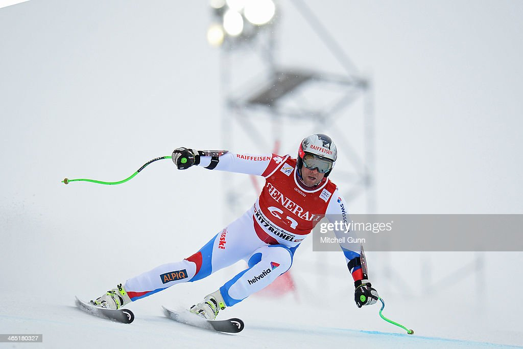 Silvan Zurbriggen of Switzerland competes in the Super G stage on the Hahnenkamm Course during the Audi FIS Alpine Ski World Cup Super Combined race on January 26, 2013 in Kitzbuhel, Austria.