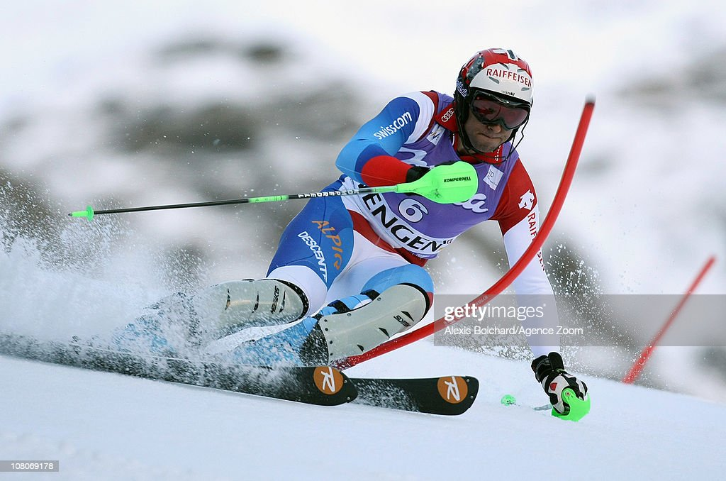 <a gi-track='captionPersonalityLinkClicked' href=/galleries/search?phrase=Silvan+Zurbriggen&family=editorial&specificpeople=817527 ng-click='$event.stopPropagation()'>Silvan Zurbriggen</a> of Switzerland in action during the Audi FIS Alpine Ski World Cup Men's Slalom on January 16, 2011 in Wengen, Switzerland.
