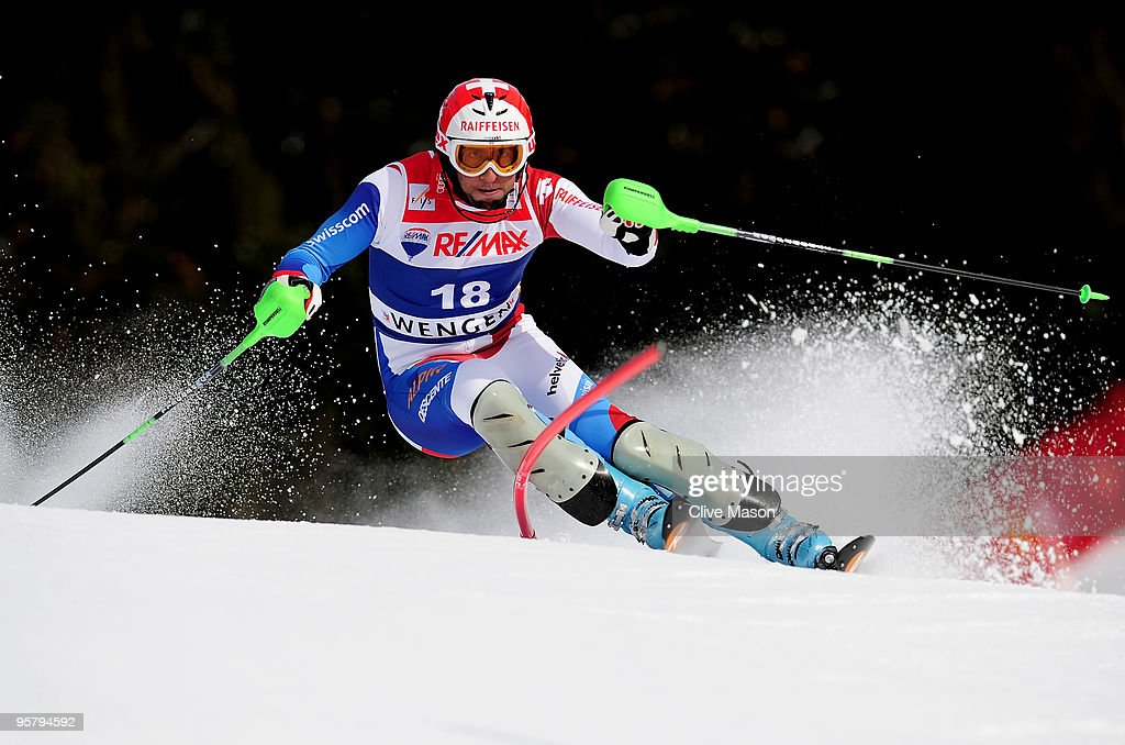 Silvan Zurbriggen of Switzerland in action during the Mens Super Combined Slalom event on January 15, 2010 in Wengen, Switzerland.