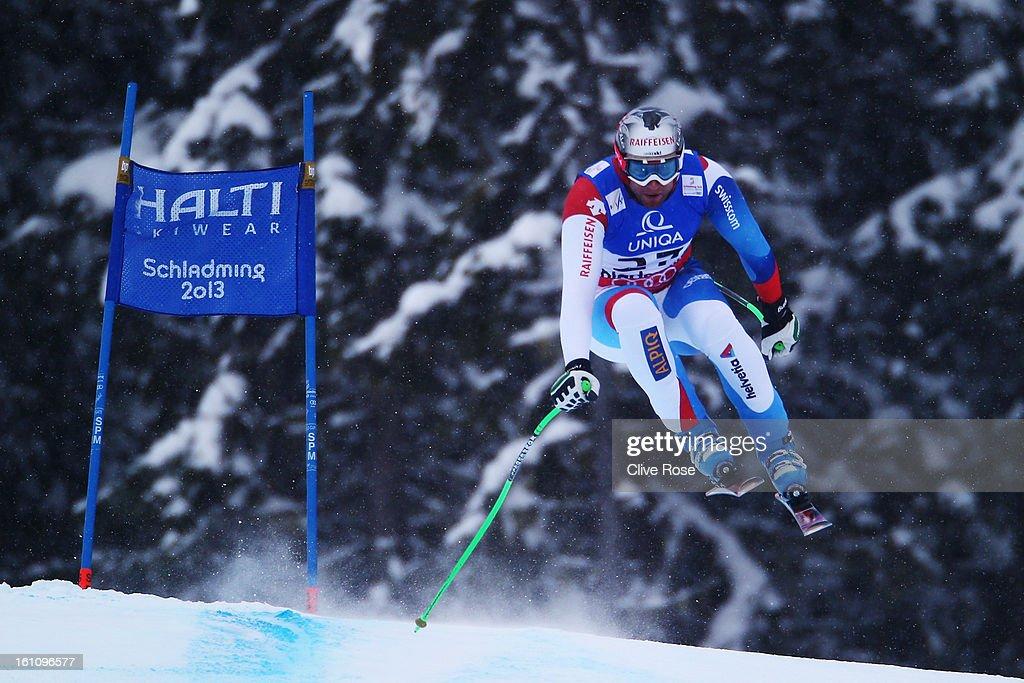 Silvan Zurbriggen of Switzerland skis in the Men's Downhill during the Alpine FIS Ski World Championships on February 9, 2013 in Schladming, Austria.