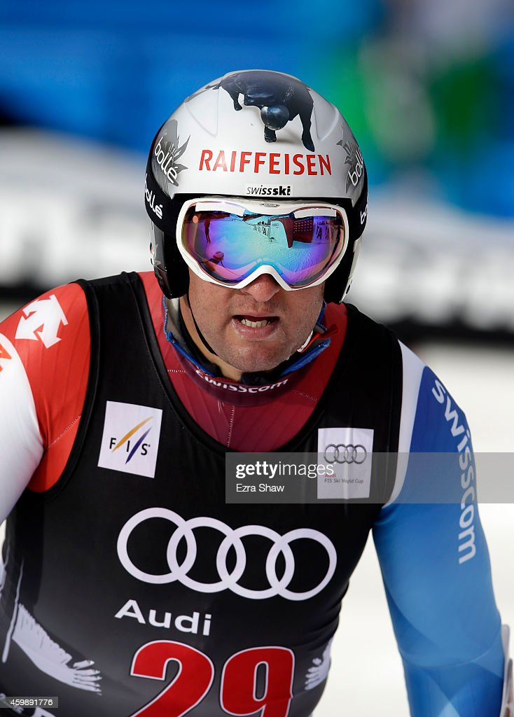 <a gi-track='captionPersonalityLinkClicked' href=/galleries/search?phrase=Silvan+Zurbriggen&family=editorial&specificpeople=817527 ng-click='$event.stopPropagation()'>Silvan Zurbriggen</a> of Switzerland stands at the finish line after completing a training run for the Audi FIS World Cup on the Birds of Prey on December 3, 2014 in Beaver Creek, Colorado.