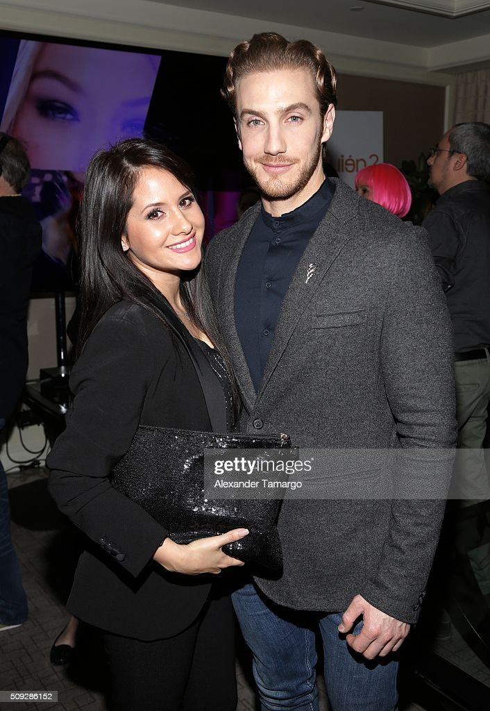 Silvana Arias and Eugenio Siller are seen at the premier of Telemundo's 'Quien es Quien' at the Four Seasons on February 9, 2016 in Miami, Florida.