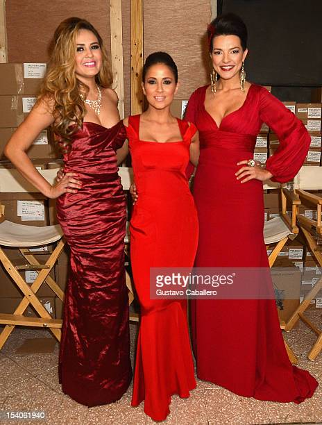 Silvana CamargoJackie Guerrido and Candela Ferro attends the Red Dress Fashion Show at Funkshion to benefit Go Red For Women on October 12 2012 in...
