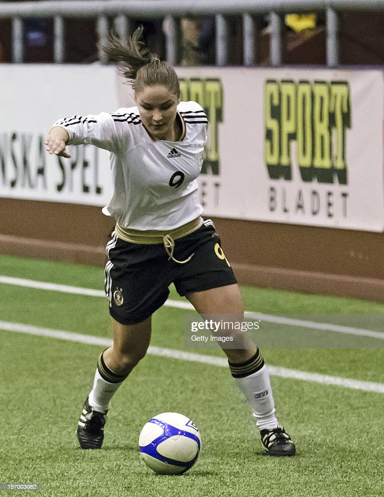 Silvana Chojnowski of Germany with the ball during the Under 19 Women's international friendly between Sweden and Germany at Tipshallen Stadium on November 21, 2012 in Vaxjo, Sweden.