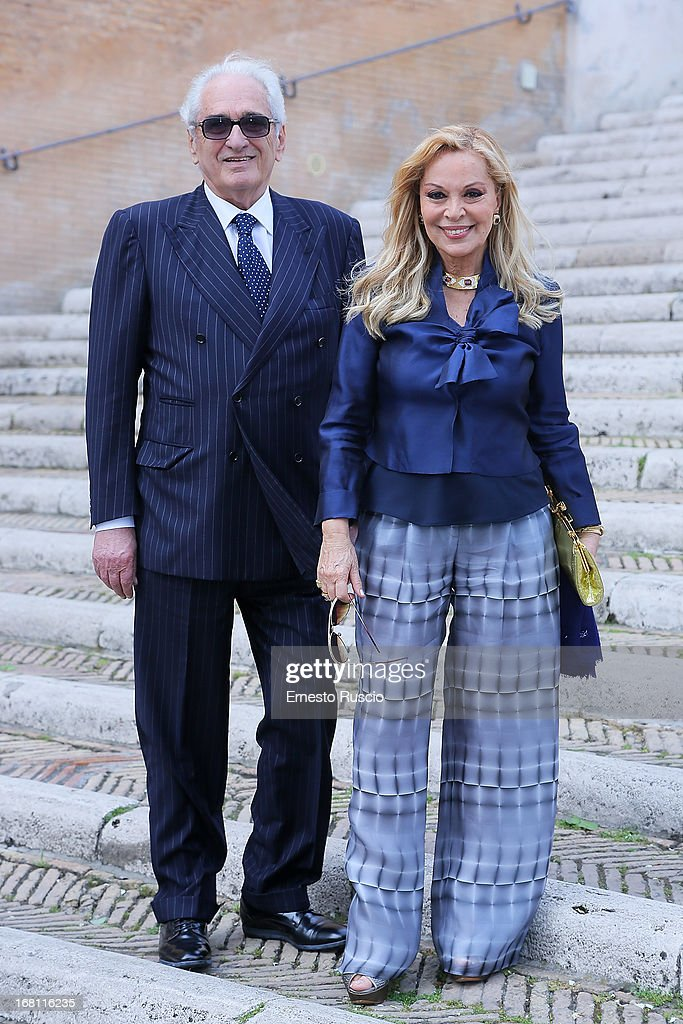 Silvana Giacobini (R) and her husband attend the Valeria Marini And Giovanni Cottone wedding at Ara Coeli on May 5, 2013 in Rome, Italy.