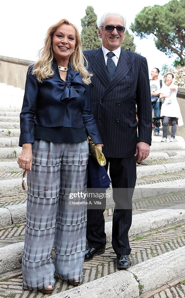 Silvana Giacobini (R) arrives at the Valeria Marini and Giovanni Cottone wedding at Ara Coeli on May 5, 2013 in Rome, Italy.