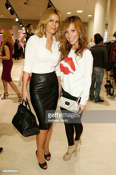Silvelyn Pooth and Guelcan Kamps attend the Basler Fashion Lounge on March 27 2014 in Dusseldorf Germany