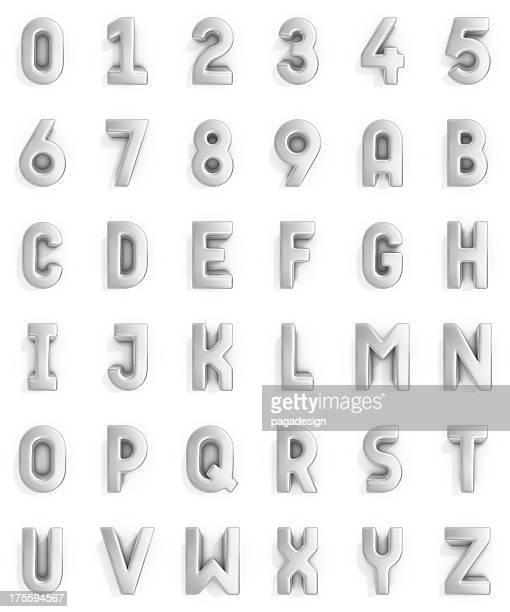 Argent alphabet et chiffres
