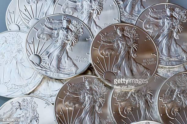 Silver American Eagle coin.
