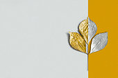 Silver and gold branch with leaves on two-color background. Approach of autumn. Minimal style. Original autumnal background