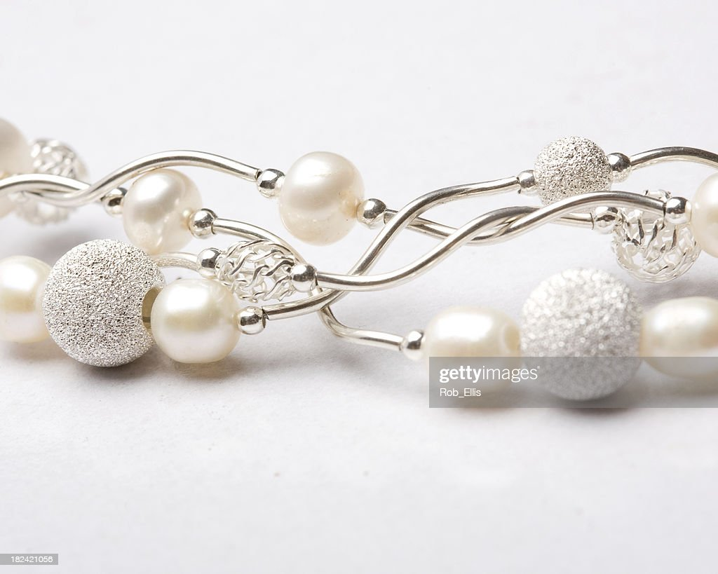 Silver and pearl jewelry : Stock Photo
