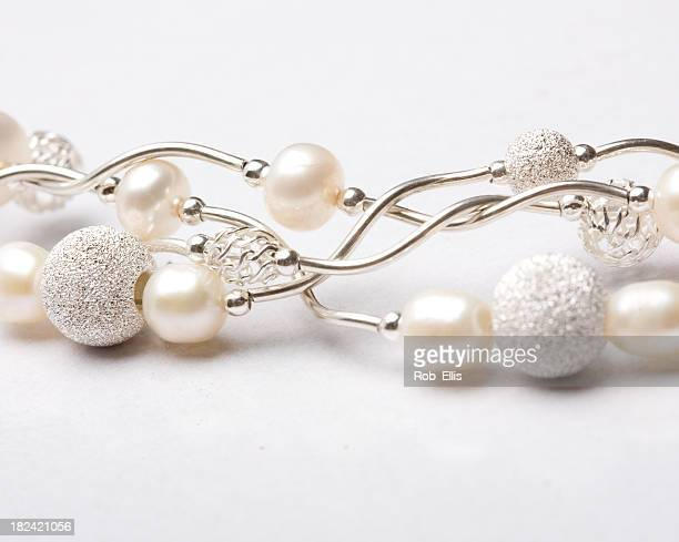 Silver and pearl jewelry