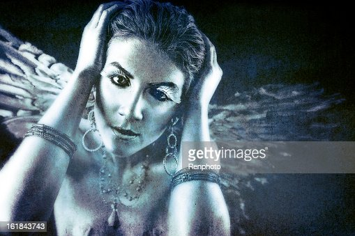 Silver angel series hear no evil stock photo getty images - Free evil angel pictures ...
