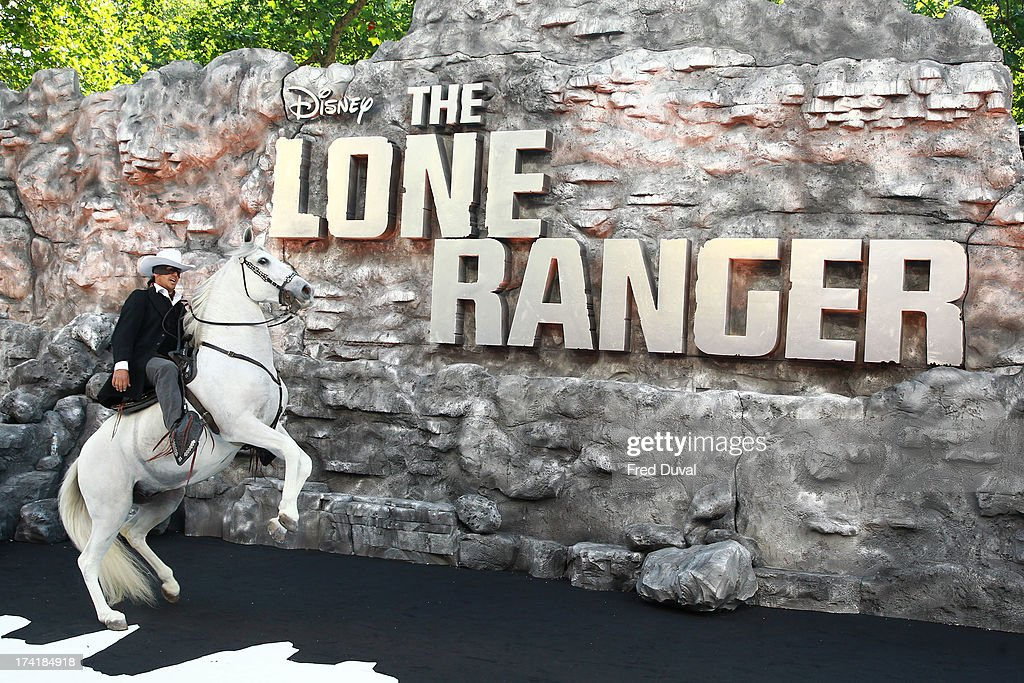 Silver (the horse) attends the premiere of 'The Lone Ranger' at Odeon Leicester Square on July 21, 2013 in London, England.