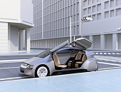 Silver autonomous car parking at the side of the road. 3D rendering image.