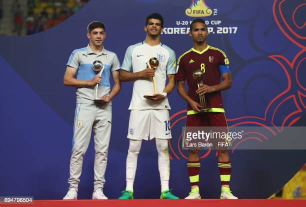 Silver Ball winner Federico Valverde of Uruguay Golden Ball winner Dominic Solanke of England and Bronze Ball winner Yangel Herrera of Venezuela pose...