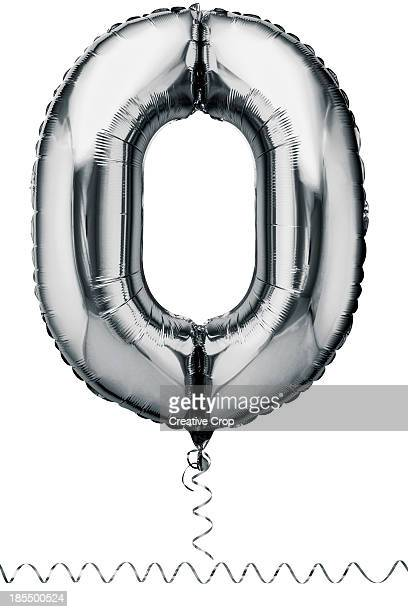 Silver balloon in the shape of a number zero